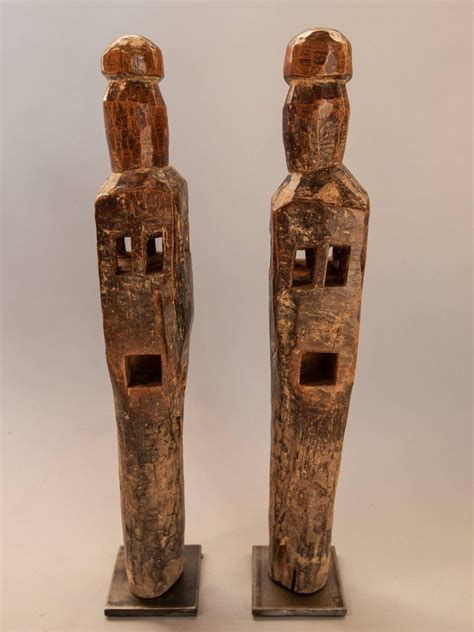 pair carved wooden chair legs tharu nepal early