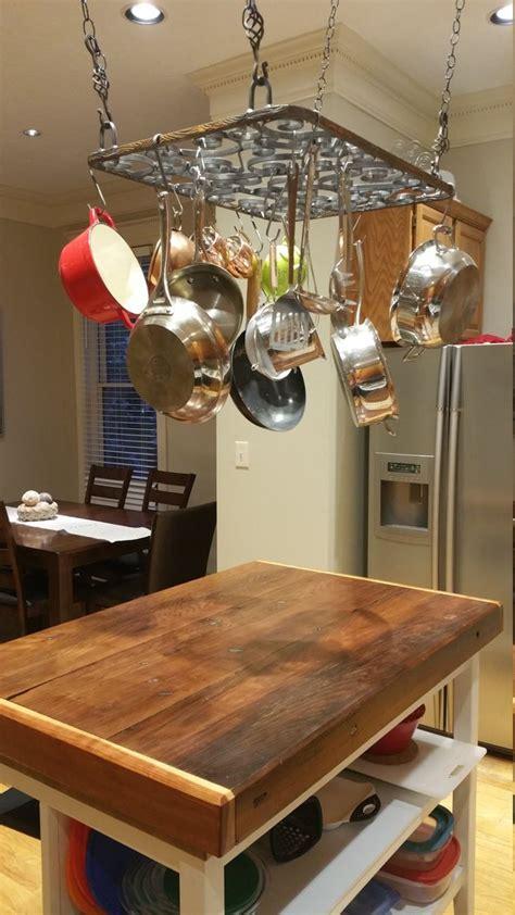 rustic hanging pot pan rack   kitchen simply