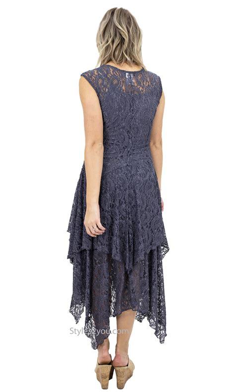 abigail layered  lace dress  slip  gray verducci