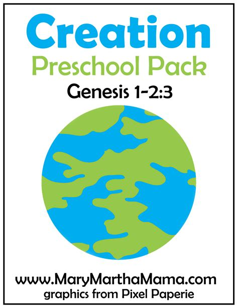creation story for free printable activities 826 | creation preschool pack 1 cover
