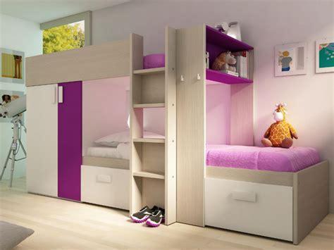 canapé lit superposé lits superposés julien 2x90x190cm armoire intégrée 4