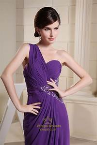 One Shoulder Purple Prom Dress With Single Strap And Slits ...