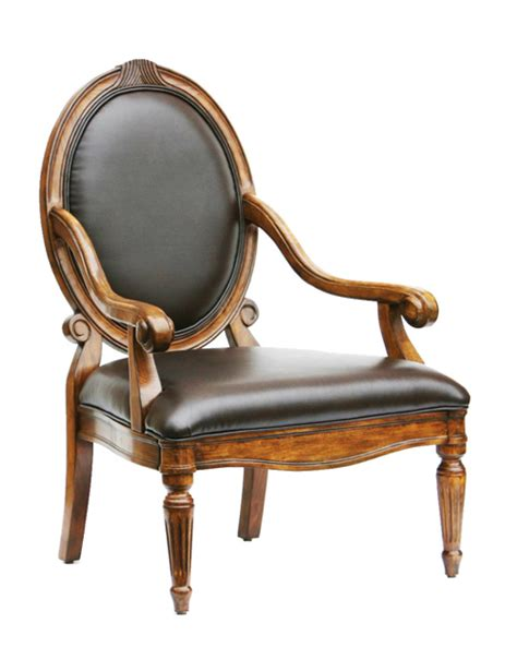 hadley bonded leather accent chair with oversized oval back
