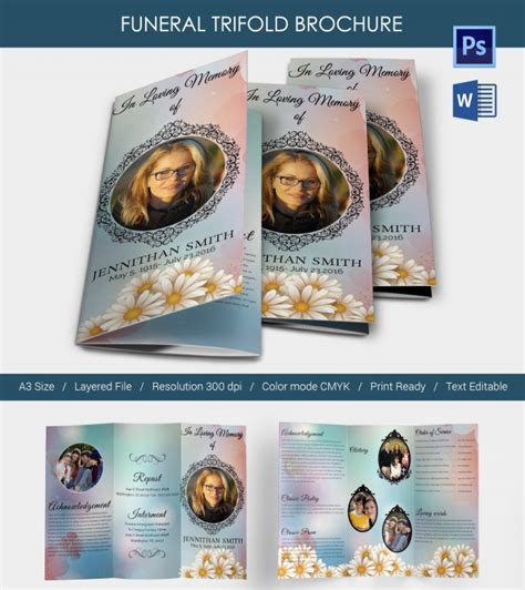 Free Invitation Trifold Brochure For Funeral In Psd By Trifold Program Template Tri Fold Wedding Program