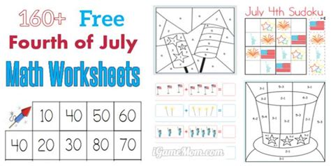 fourth  july printable math worksheets