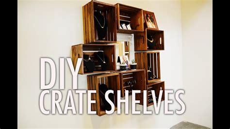 diy wood crate shelves youtube