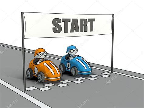 Little Sketchy Men At Car Race Start Line