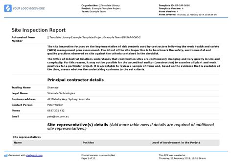 site inspection report  template sample   proven