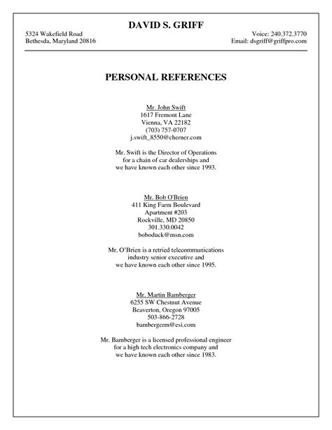Reference On Resume by Personal Reference Template Griff Personal References