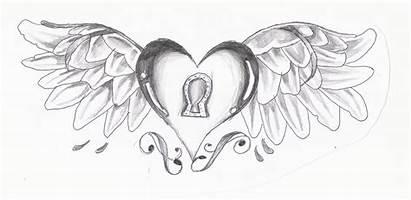 Heart Hearts Drawings Wings Drawing Pencil Roses