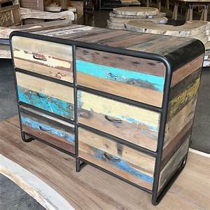 Retro, Style, Salvaged, Wood, Furniture, Chest, Or, Dresser, 6, Drawers