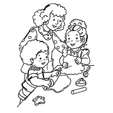 coloriage de cuisine coloriage maman et enfants cuisinent a imprimer gratuit