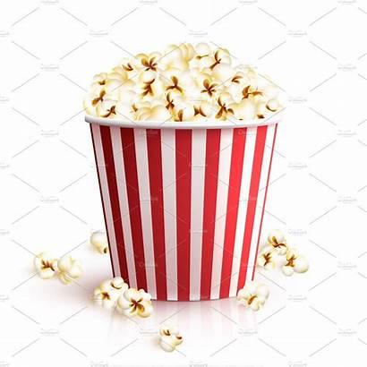 Popcorn Bucket Vector Realistic Cinema Box Illustration