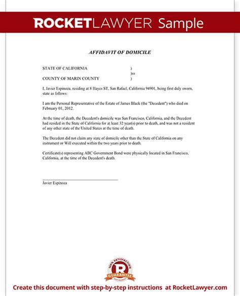 affidavit  domicile form domicile affidavit sample