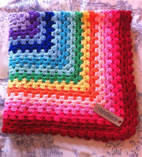 crocheted baby blankets crochet baby blanket rainbow cot pram car seat moses basket red border ebay