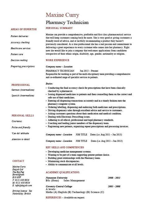 pharmacy technician resume medicine sample
