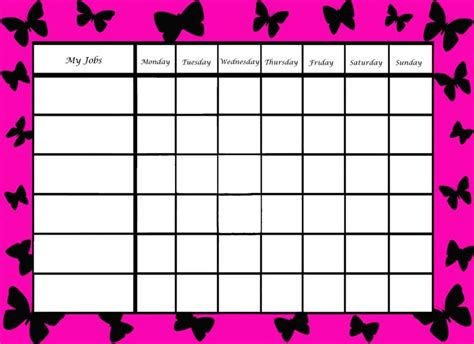 girls chore chart charts chores rewards schedules