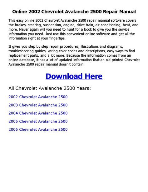 car manuals free online 2002 chevrolet avalanche 2500 on board diagnostic system 2002 chevrolet avalanche 2500 repair manual online by mary issuu