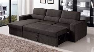Black brown clubber sleeper sectional sofa zuri furniture for Sectional sofa with a sleeper