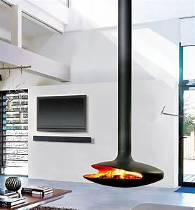 Cheminée Centrale Prix : cheminee suspendu chemine suspendue de face adosse un mur ~ Premium-room.com Idées de Décoration