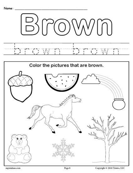 Free Color Brown Worksheet  Preschool  Color Worksheets For Preschool, Preschool Color