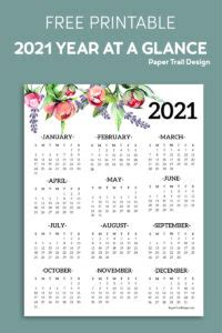 printable   page floral calendar paper trail