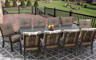 barbados cushion outdoor patio 11pc dining set for 10 person with 44x102 rectangle series 4000
