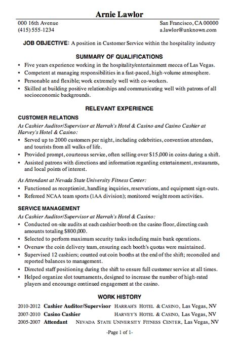 Service Industry Resume by Resume Sle Customer Service Hospitality Debt Free