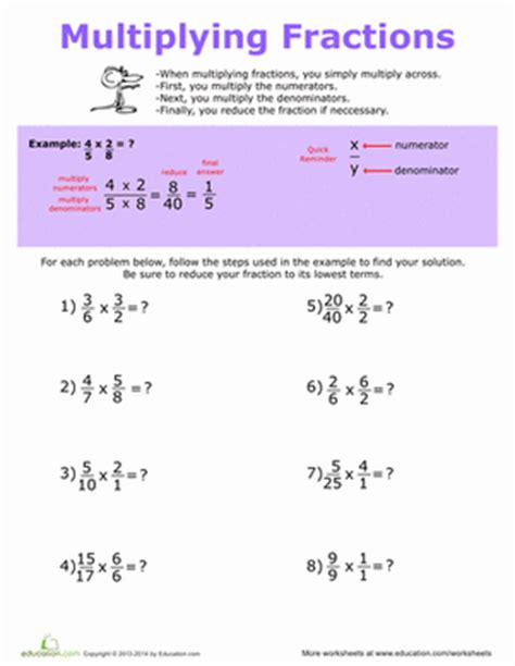 how to multiply fractions worksheet education