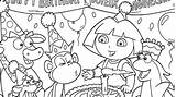 Birthday Coloring Pages Happy Printable Party Print Dora sketch template