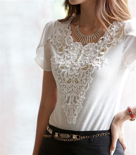 lace blouse fitted petal sleeve lace blouse