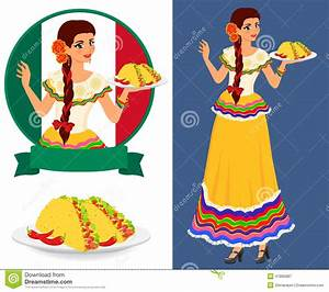 Mexican Girl With Taco Stock Vector Image47885887