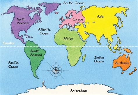 map  continents  equator world map