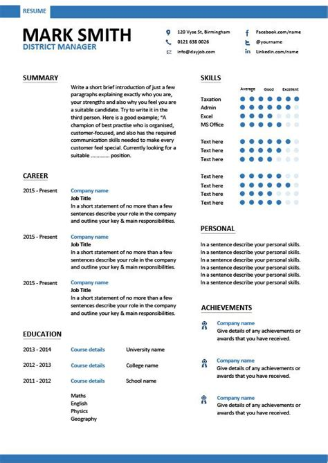 district manager resume cv exles sle template