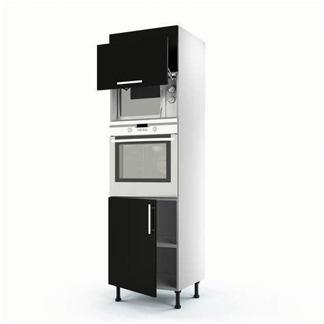 meuble colonne cuisine 60 cm meuble de cuisine colonne noir 3 portes délice h 200 x l