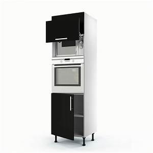 Meuble Colonne Cuisine : meuble de cuisine colonne noir 3 portes d lice x x cm leroy merlin ~ Teatrodelosmanantiales.com Idées de Décoration