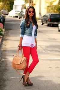 Neon pink cami destroyed jeans heels