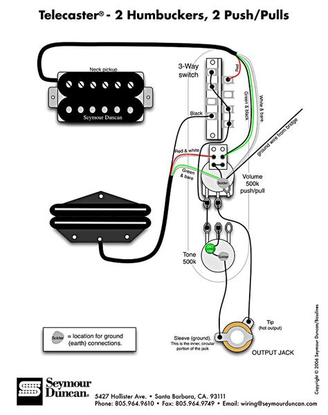 Humbucker Wire Diagram by Tele Wiring Diagram 2 Humbuckers 2 Push Pulls