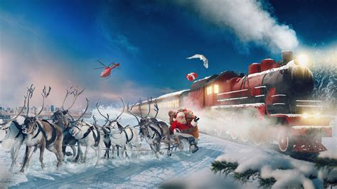 wallpaper polar express reindeer chariot santa claus