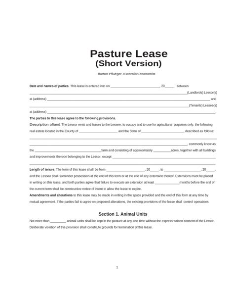 pasture lease agreement fillable printable