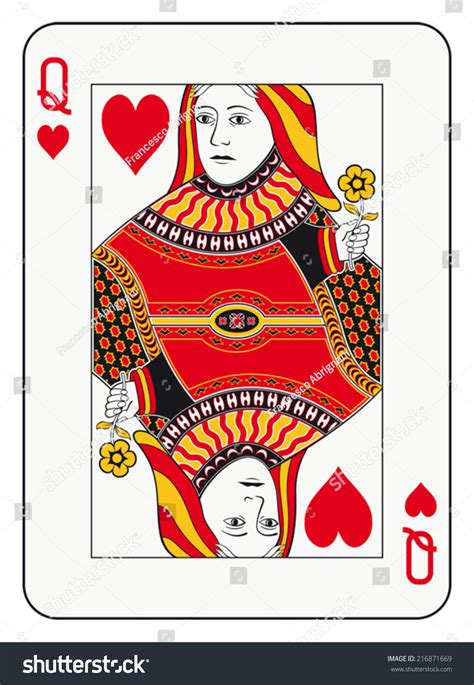 Queen Hearts Playing Card Template