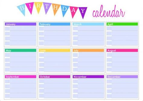 Birthday And Anniversary Calendar Template by Birthday Calendar 43 Calendar Template Free Premium