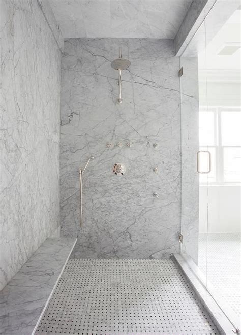 gray marble slab shower surround  long floating shower