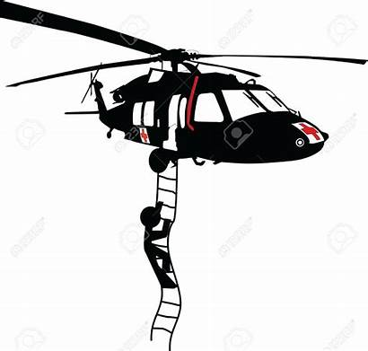 Helicopter Rescue Clipart Chopper Silhouette Cliparts Hawk