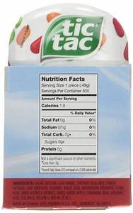 Calories In Tic Tac Fruit Adventure  Nutrition Facts  Ingredients And Allergens