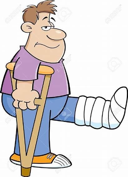 Leg Cartoon Cast Crutches Boy Broken Clipart