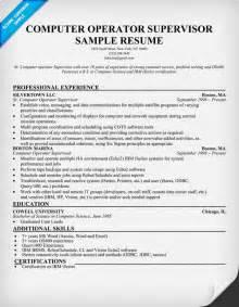 computer operator supervisor resume