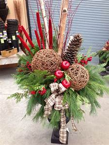 Porch, Pot, With, Birch, Poles, Vine, Balls, Red, Mullet, Shinty, Apples, And, Evergreen