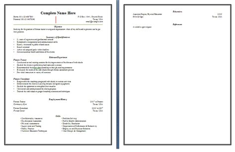 Fitness Resume by Sle Fitness Resume Free Word S Templates