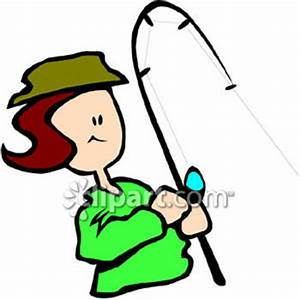 A Girl Fishing - Royalty Free Clipart Picture